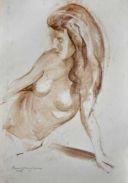 Nude woman. Sepia drawing