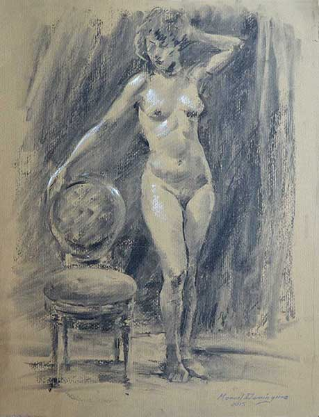 Drawing nude charcoal