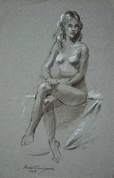 Nude woman. drawing by Manuel Domínguez